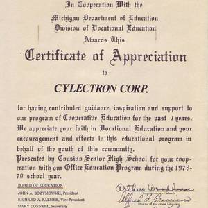Certificate of Appreciation to Cylectron Corporation