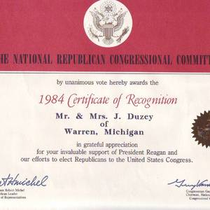 Certificate of Recognition Mr. and Mrs. J. Duzey of Warren, Michigan