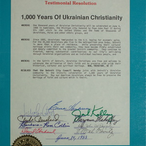 Detroit City Council: Testimonial Resolution. 1000 years of Ukrainian Christianity