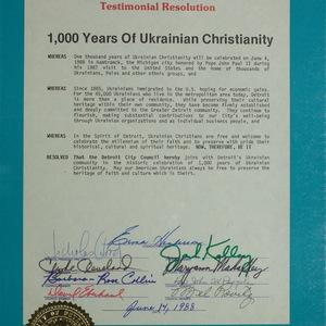 Detroit City Council: Testimonial Resolution. 1000 years of Ukrainian Christianity